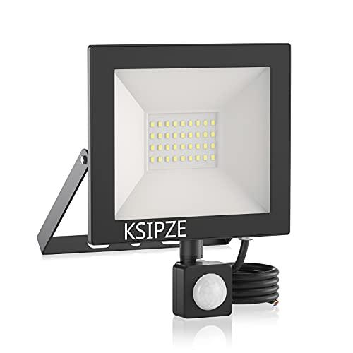 KSIPZE Security Light Outdoor PIR Motion Sensor 30W Flood Lights 2430 Lumen...