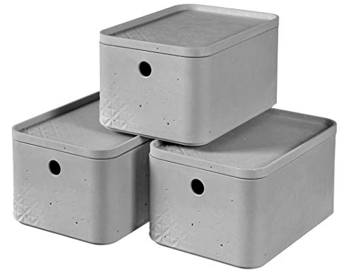 CURVER | Lot de 3 Boîtes de rangement S + couvercles, Aspect beton, Gris, 26,2 x 18,7 x 41,4 cm, Plastique