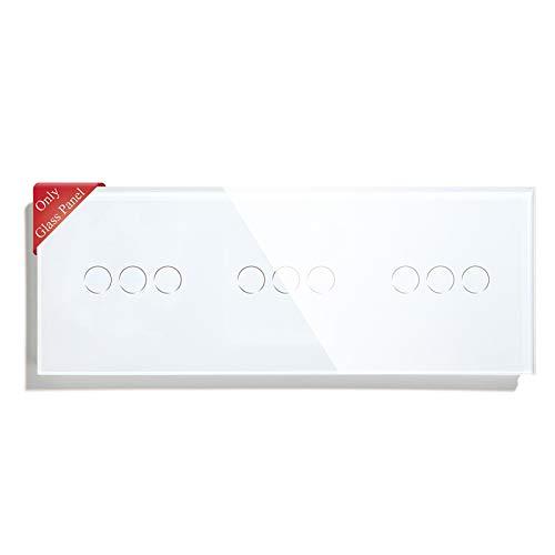 BSEED Interruptor de luz táctil panel de vidrio panel de vidrio panel de vidrio para interruptor de luz de pared 3 Gang +3 Gang +3 Gang Blanco 228mm