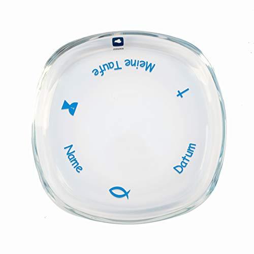 Striefchen® Kerzenteller aus Glas für Stumpenkerzen mit Namen des Kindes zur Taufe Blau
