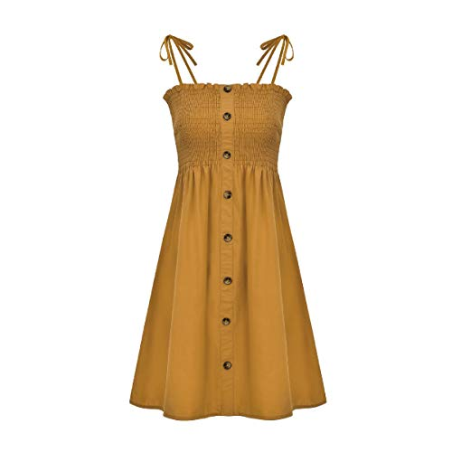 GRMO Women's Spaghetti Strap Solid Beach Sleeveless A-Line Sexy Dress One US S