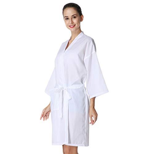 YUENA CARE Robe de Salon pour Client, Coiffure Capes pour Les Clients, Style Kimono avec Ceinture Réglable et Poche, pour Coiffeur Boutique d Ongles de Beauté Blanc
