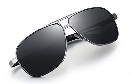 WHCREAT Herren Polarisierte Sonnenbrille Pilotenbrille mit Federscharnieren UV400-Schutzglas - Schwarzes Silber Rahmen Schwarze Linse