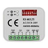 RICEVITORE UNIVERSALE RADIO RICEVENTE 2 canali TELECOMANDI Tante altre marche frequenza 433 o 868 Mhz 12-30V ac dc codice fisso rolling code AUTOMAZIONE RXMULTI MULTI RX 12-30V