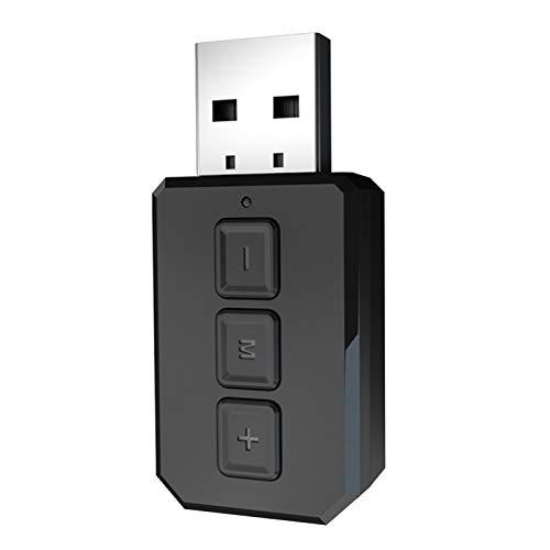 Gazechimp USB 2-en-1 Receptor Inalámbrico Bluetooth 5.0 Multi-Stream AUX 3.5MM Transmisor Estéreo Dongle para TV de Automóvil Teléfono de PC