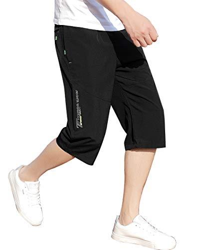 スポーツ ハーフパンツ メンズ 速乾 ショートパンツ 7分丈 通気 短パン スウェット 登山 半ズボン ランニング ジッパーポケット 夏 Black XL