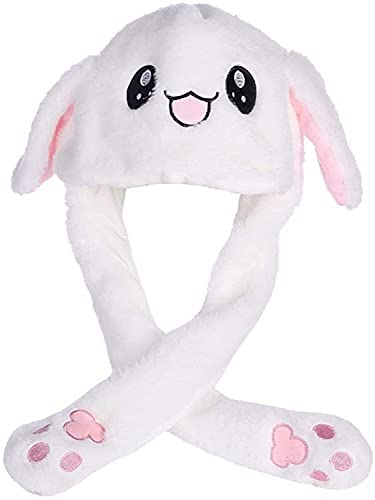 Funny Plush Bunny Hat Ear Moving/Jumping Rabbit Hat Cute Unisex Animal Ear Flap Hat with Paws for Women Girls