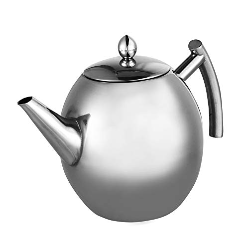 Tetera de acero inoxidable con filtro, Tetera de acero inoxidable Tetera con filtro de gran capacidad, Suministros para servir té(1500ml)