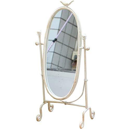 FYHpet Espejo de Maquillaje Giratorio de Metal de Metal de Espejo Vintage en Espejo de Afeitado del pie en la Mesa sin baño,Blanco