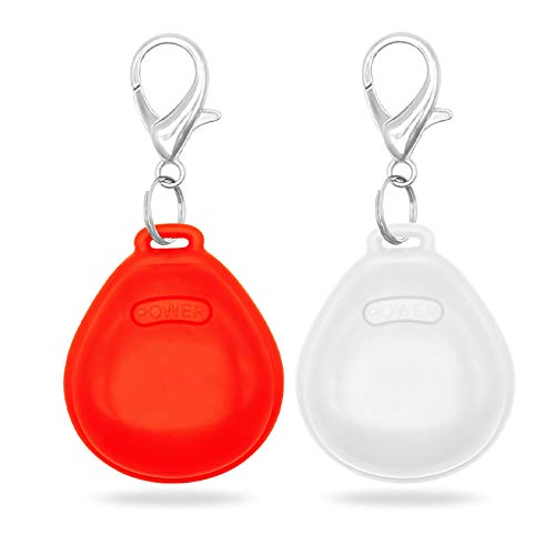 HIGO LED Lighted Dog Tags - 2 Pack Glow in The Dark Pet Pendants for Night Dog Walking (Red&White)