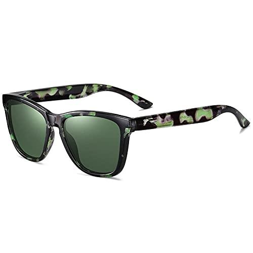 Gafas De Sol Hombre Mujeres Ciclismo Gafas De Sol Polarizadas Cuadradas De Moda para Hombres, Gafas De Conducción para Deportes Al Aire Libre, Montura con Patrón, Espejo, Gafas De Sol para Mujer-