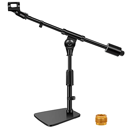 """InnoGear Desktop Microphone Stand, Adjustable Mic Stand with Boom Arm, 0.8 lb Counter Weight, Mic Clip and 3/8"""" to 5/8"""" Screw Adapter for Kick Drums, Guitar Amps, Blue Yeti and Blue Snowball"""