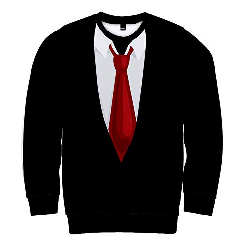 SLYZ Autumn and Winter New Men's Suit Digital Printing 3D Plus Velvet Long-Sleeved Round Neck Sweater for Men and Women