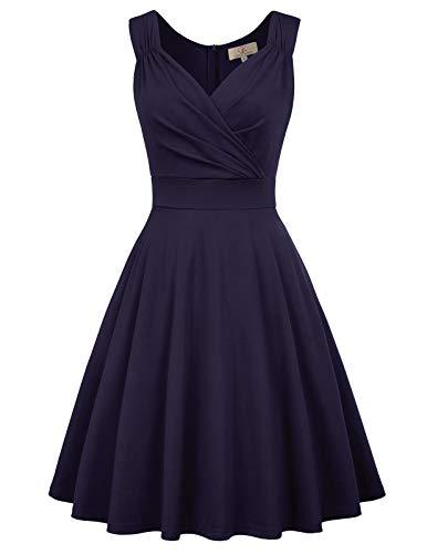 GRACE KARIN Marineblau Rockabilly Kleid Damen 1950er Kleid a Linie cocktailkleider trägerkleider CL698-3 2XL