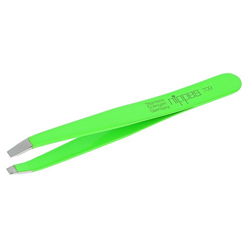 Nippes Stainless Steel Bent Flat End Tweezers - Quality Handmade in Solingen Germany - Professional Grade - Ergonomic Hand Grip - for Eyebrows, Eyelashes, Ingrown Hairs & Splinters [Green]