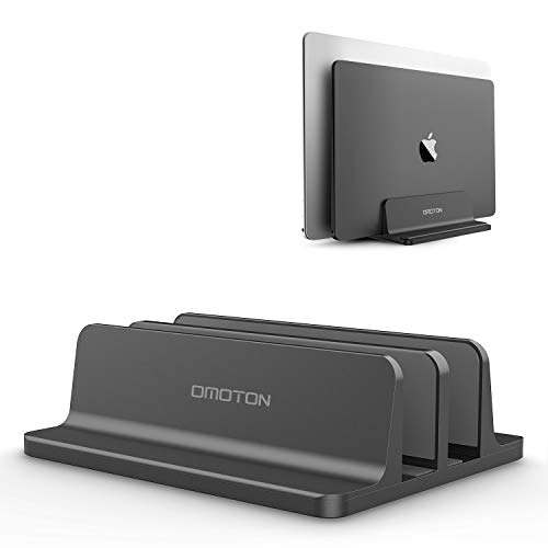 [Updated Dock Version] Vertical Laptop Stand, OMOTON Double Desktop Stand Holder with Adjustable Dock (Up to 17.3 inch), Fits All MacBook/Surface/Samsung/HP/Dell/Chrome book (Black)