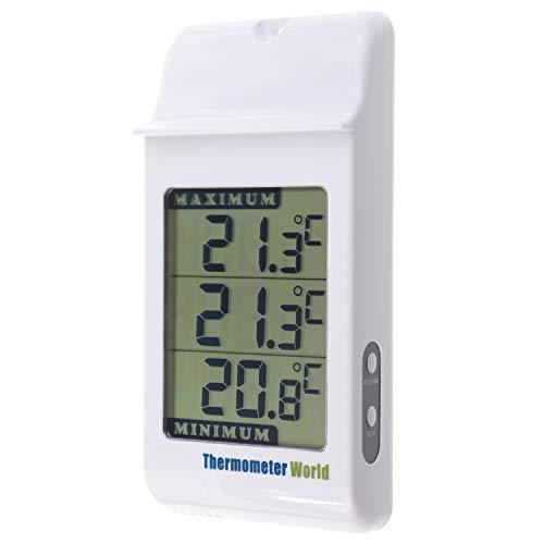 Grande Digital Max Min termómetro en color gris – para interior y exterior pared de efecto invernadero