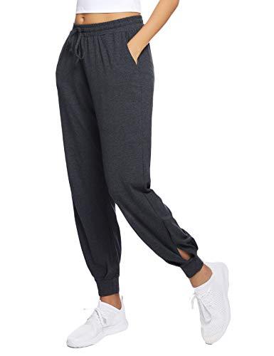 Hawiton Damen Sporthose Freizeithose Yogahosen Sport Pumphose Haremshose mit Elastischen Bund Dunkelgrau XL