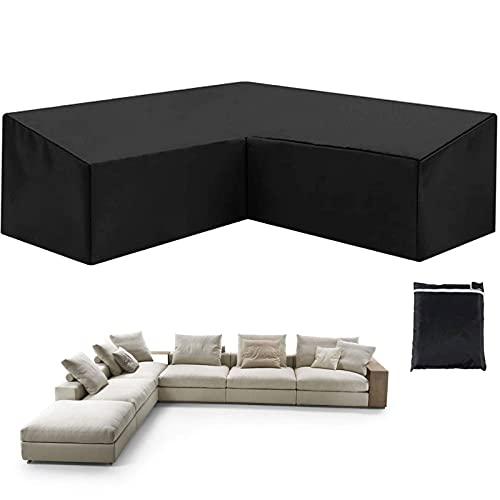 WYFC Funda Sofa Exterior en L Impermeable Tela Oxford 210D Al Polvo Resistente Al Viento Antidesgarros para Muebles de Jardín Negro