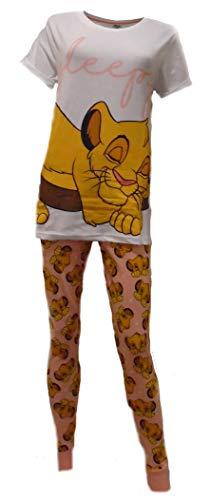 Disney Frauen Lion King Sleepy Simba Cuffed Pyjama Set: Klein (8-10)