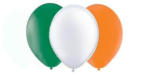 Toyland®-pakket van 12 St Patrick's Day Latex-ballonnen - 4 groene, 4 witte, 4 oranje 12-inch ballonnen - feestdecoraties