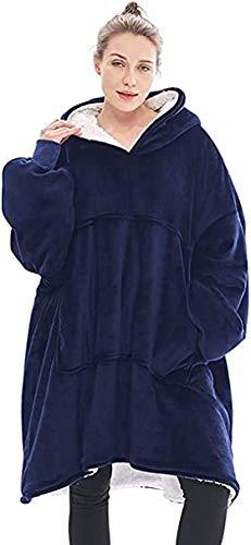 Seogva Oversized Sherpa Hoodie, Wearable Hoodie Sweatshirt Blanket, Super Soft Warm Comfortable Blanket Hoodie, One Size Fits All, Men, Women, Girls, Boys, Friends (Blue)
