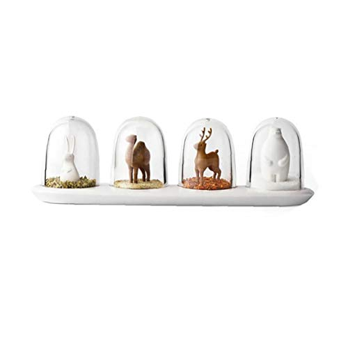 Yoyakie Suministros 4pcs / Set De Cocina Animales De Diseño Creativo De Spice Jar Botella Condimento Sal Azúcar Pimentero Herramientas De Cocina (Animal)