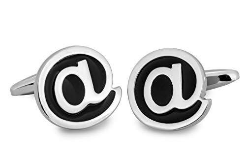 Sologemelos - Boutons De Manchette. Des lettres arrobe - Argenté et noir