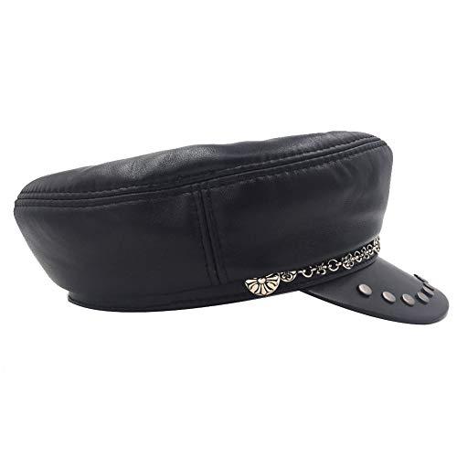 Sandy Ting Genuine Leather Biker Punk Rocker Cap Motorcycle Hat with Metal Decoration & Stud -Medium Black