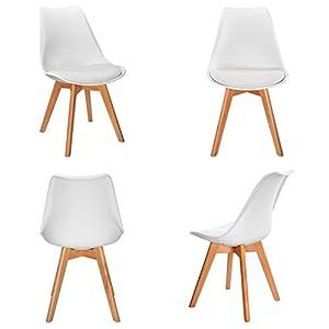 SEDIA DESIGN SCANDINAVO : Le sedie bianche VADIM della serie Nordic sono classiche, facili da abbinare ai vostri mobili. Sia nel vostro soggiorno, sala da pranzo, camera da letto, ufficio, caffè, sala d'attesa, le 2 sedie sono perfette. COMODO SEDILE...