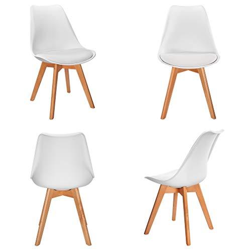 VADIM Set di 4 sedie da Pranzo Imbottito Design scandinave Color Bianco Gambe in Legno Cuscini in Similpelle perfette per la Tua casa Moderna.