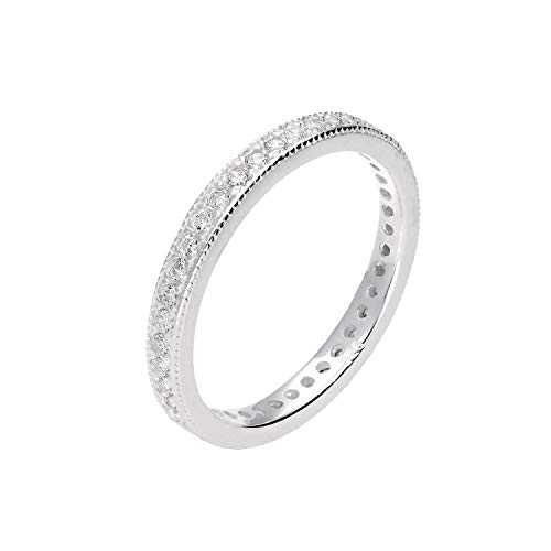 Sterling Silver & CZ Crystal Full Eternity Ring Size Small