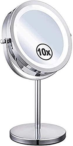 Espejo de maquillaje iluminado con aumento, espejo de baño con lupa, aumento de 10 aumentos, mesa de 17,78 cm (color: metálico, tamaño: 17,78 cm) para casa, baño