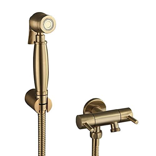 Pulverizador Grifo Bidet Portatil para WC Oro, Cobre Presurizado agua fría Multifuncional para Baño WC Grifo WC Pulverizadores Ducha Bidet para Inodoro-C