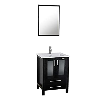 """eclife 24"""" Bathroom Vanity Sink Combo W/Overflow White Drop in Ceramic Sink Top & Black MDF Modern Bathroom Drawer Cabinet & Chrome Solid Brass Faucet and Pop Up Drain W/Mirror (BT-A08B03)"""