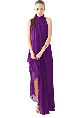 ERGEOB Damen Sommer Kleid Elegante Cocktail Party Floral Kleider Maxi ärmellosen Chiffon Abendkleid Strandkleid Lila