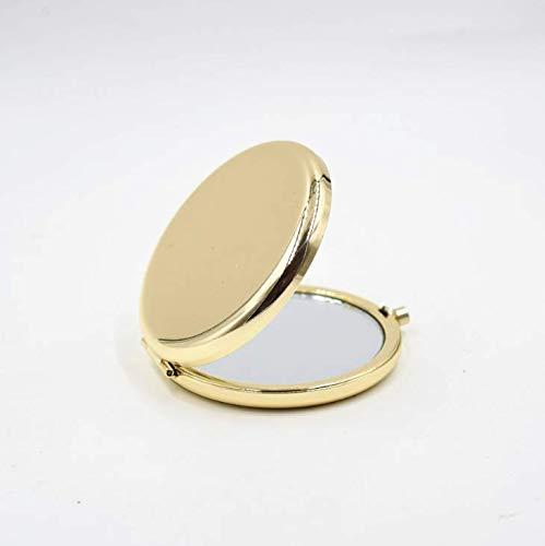 Beleuchteter Reisespiegel, 1/10-fache Vergrößerung, kompakt, tragbar, 65 mm breit, beleuchteter Spiegel, Goldsilber (Gold)