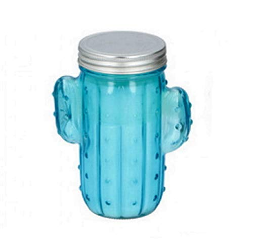 Citronella Candle in Cactus Glass Jar with Lid Indoor Outdoor Camping Portable Citronella Scented Fragranced Candle Aromatherapy Novelty Cactus Candle, Up to 22 Burning Hours (Blue)