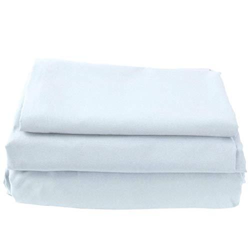 YeVhear - Juego de sábanas de microfibra suave cepillado y suave, tamaño grande, 4 piezas, 1 sábana encimera, 1 sábana bajera, 2 fundas de almohada Queen Sky Blue