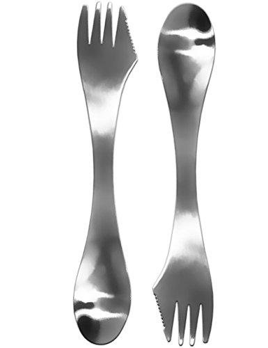 Outdoor Saxx® 3-in-1 campingbestek, 2 x mes, vork, lepel, bespaart bagage en gewicht door drievoudige functie, reisbestek, roestvrij staal, robuust, licht, set van 2