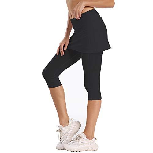 Geekbuzz - Mallas de mujer con falda y bolsillos UPF 50+, color negro, tamaño medium