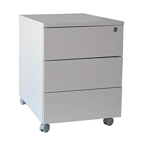 Rollcontainer Stahl, Eco 3 Schubladen, 53x40x59 cm, lichtgrau, Marke: Szagato (Arbeitstisch, Computertisch, Bürotisch, Druckertisch)