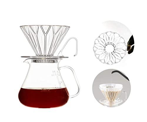 Wlać kroplownik do kawy, wzór pryzmatyczny PCTG do parzenia kawy, ekspres do kawy z filtrem stałym, przezroczysty kubek z filtrem do kawy z dzbankiem do kawy 360ml