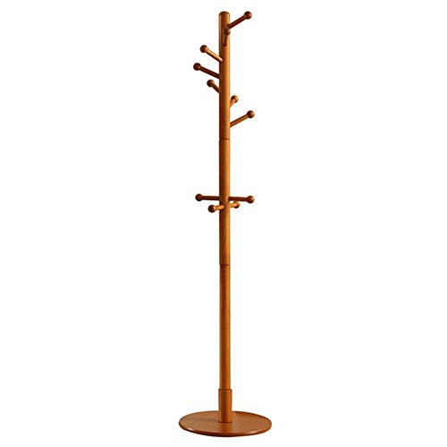 Kapstokken Kapstok Solid Rubber Wood Free Standing, 11 Haken Coat Tree Entryway Standing for Kleding, Hoeden, Handbags (Kleur: Honey Color) LQH (Color : Honey Color)