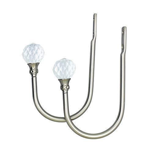 ALEENFOON 2 alzapaños de Cristal para Cortinas de Estilo U, alzapaños de Metal para Cortinas de diseño Moderno para Abrazaderas de Gasa (Plata)