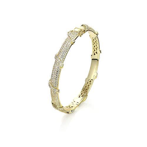 PAVELS eleganter Damen Armreifen Armschmuck Armreif Armspange STRIPES 18K Gold plattiert glitzer verschließbar mit einer edlen Schmuckbox