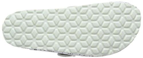 Lico Bioline Clog Print - pantuflas con forro Mujer, Blanco (Weiss/grau), 40 EU