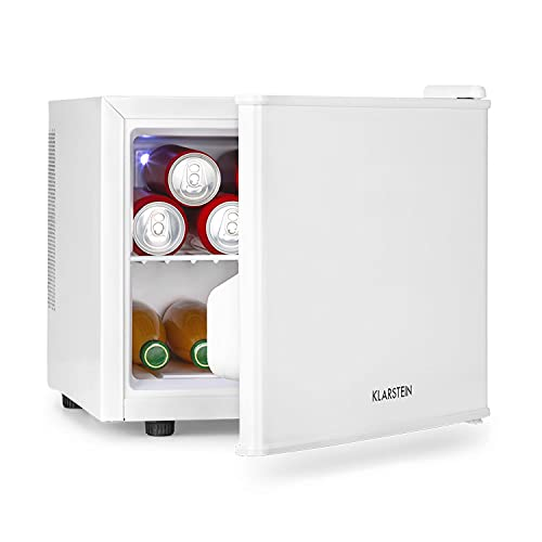 Klarstein Geheimversteck - Minibar, Mini Frigo, Mini Frigorifero per Snack e Bevande, 17 L, solo 26 dB, Ripiano Estraibile, Regolazione della Temperatura senza Intervalli Predefiniti, Bianco