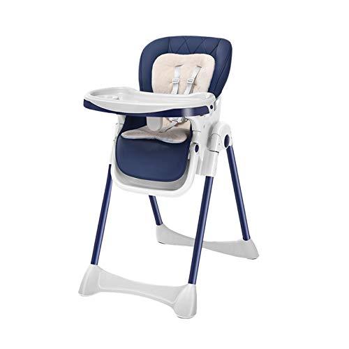 NSWDC Trona para bebé, Trona para bebé/con Bandeja Doble extraíble y arnés de Seguridad de 5 Puntos/Respaldo reclinable y Plegable,Azul