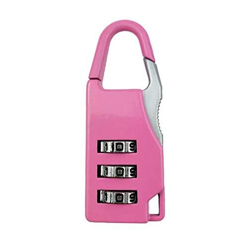 Cilinderslot 3 Wijzerplaat Digit Legering Combinatie Code Nummer Lock Hangslot Bagage Lock voor Rits Tas Rugzak Handtas Ladekast roze